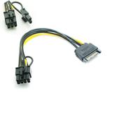 20 cm 15-pins SATA mannelijk naar 8-pins vrouwelijk PCI-E grafische kaart SATA-voedingskabel splitskabel