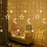 2.5M 3.5M USB-stekker in LED Moon Star-gordijn Fairy Ins Christmas String Light slaapkamer romantisch decor