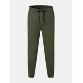 Mens Fashion 100% Cotton Solid Color Elastic Waist Pants