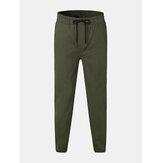Mens moda 100% algodão cor sólida cintura elástica Calças