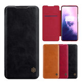 Đối với OnePlus 7T Pro Case NILLKIN Qin Series Vintage Flip Card Slot Chủ PC Case PU Leather Protective Case
