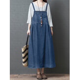 S-5XL Women Casual Loose Sleeveless Denim Dress