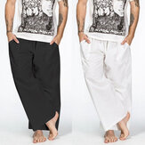 Mens Vintage Causal Slacks Loose Baggy Yoga Beach Wide Leg Long Trouser Pants