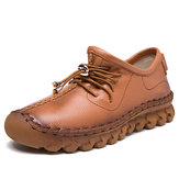 SOCOFY Casual Very Soft Flat Leather Shoes
