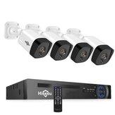 Hiseeu 4PCS POE H.265 + IP-камеры безопасности 8CH 5MP NVR Система камер Поддержка аудио ночного видения 10м IP66 Водонепроницаемы Onvif