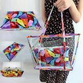 Women Clear Transparent Flowers Beach Shopping Bag Shoulder Handbag Tote Purse