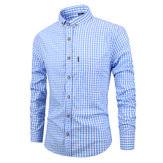 Casual casual slim-fit geruite shirts voor heren