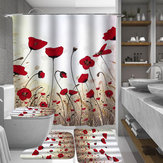 1/3/4Pcs Ink Painting Shower Curtain Bathroom Rug Set Flower Waterproof Polyester Fabric Bathroom Floor Mat Set