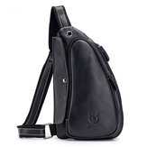 BULLCAPTAIN Men Leather Bag Crossbody Bag Outdoor Traveling Shoulder Bag Business Bag Chest Bag