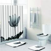 Çiçek Su Geçirmez Duş Perdesi Banyo Tuvalet Kapağı Halıları Kapak Paspasları