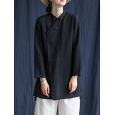 Vintage Button Stand Collar Long Sleeve Chinese Style Cotton Blouse