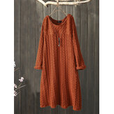 Plus Size Jacquard Crew Neck Vintage Knit Dress