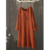 プラスサイズのジャカードクルーネックヴィンテージニットドレス
