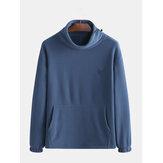 Mens Polar Fleece Casual High Collar Thick Warm Solid Color Sweatshirt