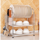 3段クロームキッチンディッシュラックカップ乾燥水切りトレイカトラリーホルダー収納キッチン収納ラック