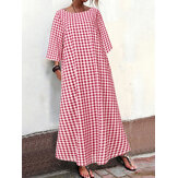 Women 3/4 Sleeve Casual Plaid Long Maxi Dress With Pocket