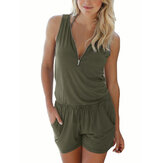 Women V-neck Zipper Sports Solid Color Casual Vest Jumpsuit