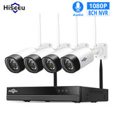Hiseeu WNKIT-4HB312 8CH 1080P Sistem Keamanan CCTV Nirkabel 2MP IR Rekaman Audio Luar Ruangan IP Kamera Tahan Air Wifi NVR Kit Video Surveillance
