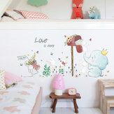 Miico SK7185 Elefante Y Conejo Pintura Pegatinas Habitación Infantil Y Jardín De Infantes Decorativo Etiqueta De La Pared