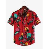 Erkek Etnik Çiçek Baskılı Turn Down Yaka Casual Gömlek
