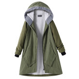 Pure Color Hooded Coats