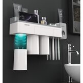 [Magnetic Design] Jordan&Judy Mutifunctional Magnetic Toothbrush Holder with Toothpaste Squeezer Cups Bathroom Storage Rack Nail Free Mount for Shaver Toothbrsuh Phone