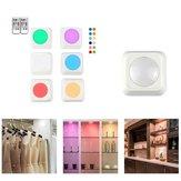 3 stücke / 6 stücke Colorful Fernbedienung Pat Nachtlicht für Kleiderschrank Küche Schlafzimmer Schrank Quadratische Form