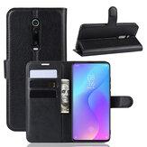Bakeey Litchi Padrão Flip à prova de choque com slot de cartão Proteção de corpo inteiro de couro PU magnético Caso para Xiaomi Mi 9T / Xiaomi Mi 9T pro / Xiaomi Redmi K20/Redmi K20 PRO Não original