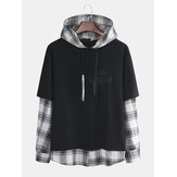 Men Hooded Sweaters Japanese Casual Lattice Stitching Jacket