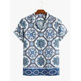 Men Porcelain Shape Printed Short Sleeve Casual Shirts