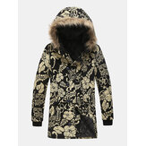 Mens Ethnic Printing Hooded Thickened Warm Mid Long Coats