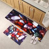 Starfish Color Cobblestone Print Flannel Mat Set Waterproof Non-slip Carpet