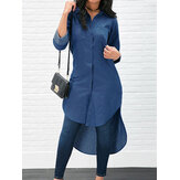 Long Sleeve Solid Color High-Low Hem Denim Shirts