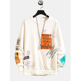 Men's New Letter Printing Loose Hip-hop Round Neck Casual Long Sleeves Sweaters