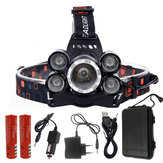 XANES® 7310-A 2500LM T6+4xXPE Headlamp 4 Modes 90° Adjustable Waterproof 2x18650 Battery AC/DC Charger Work Light