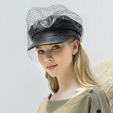 Örgü Suni Deri Bere Edebi Vahşi Sekizgen Şapka Askeri Ordu Kap Düz Şapkas