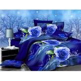 3 STKS 200 x 230 cm 3D Blauw Rose Gedrukt Beddengoed Kussensloop Dekbedovertrek Beddengoed Sets Queen Size