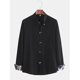 Men's New Chinese Style Large Size Disc Buckle Long Sleeve L