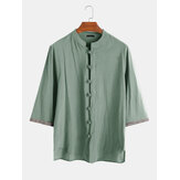 Mens 100% Cotton Button Down Embroidered Sleeve Oriental Vintage Shirts
