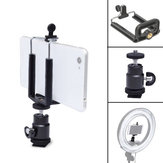 360 Degree Rotation Tripod Head Ballhead with Phone Clip for Smartphone Photography