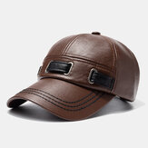 Unisex Artificial Leather Hat Outdoor Warm Casual Baseball Cap