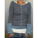 Button Long Sleeve Stripe Casual Sweaters For Women