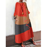 S-5XL Women Vintage Loose Baggy Long Casual Maxi Dress