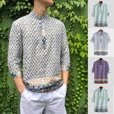 Camicie da uomo casual con maniche a mezza manica stampate in stile etnico