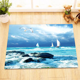 Blue Beach Shower Curtain Non-Slip Bathroom Carpet Bath Mat Set Shower Curtain