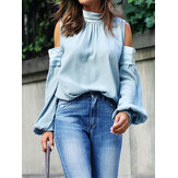 Chic Off The Shoulder Solid Color Half Neck Blouse