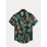 Mens Summer Tropical Printed Loose Short Sleeve Casual Shirt