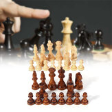 32 Piece Wooden Carved Chess 10.5cm King Chessman Hand Crafted Set Outdoor Entertainment Toy