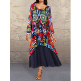 V-neck Graffiti Print Splice Contrast Color Maxi Dress