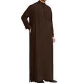 Erkek Suudi Stil Thobe Dishdash Jubba Arap Robe İslam Giyim Uzun Maxi Elbise